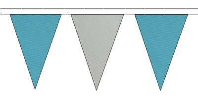 SKY BLUE AND GREY TRIANGULAR BUNTING - 10m / 20m / 50m LENGTHS